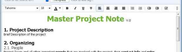 Evernote - Project Master Note Template